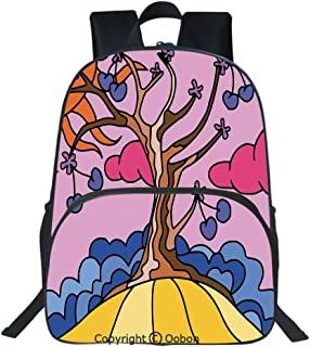 Oobon Kids Toddler School Waterproof 3D Cartoon Backpack, Colorful Cherry Tree with Sun Flowers and Clouds Funky Style Life Home Decor Decorative, Fits 14 Inch Laptop