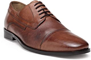 HATS OFF ACCESSORIES Brown Crunch Leather Derby Shoes with Toe Cap