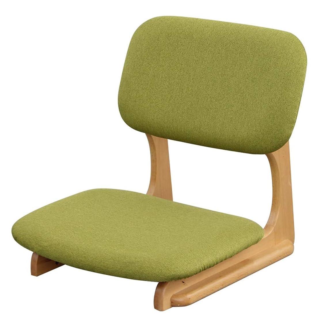 従順な名前で猛烈なフロアーチェア 和座 座椅子 子供の教室用の小さな床椅子、リビングルームのベッドルームバルコニー用の日本の携帯用布団ゲームソファ、木製フレーム (Color : Green)