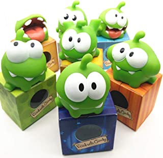 WENHSIN 7 Packs Rope Frog Rubber Games Doll Cut The Rope OM NOM Candy Gulping Monster Toy Figure with Squeak Sound for Kids Gift
