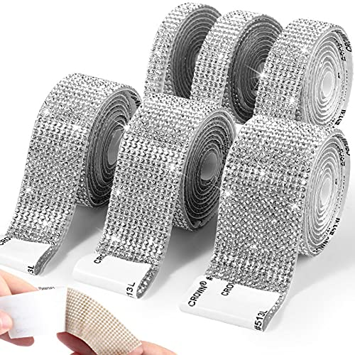 6 Rolls Self Adhesive Crystal Rhinestone Ribbon Diamond Bling Ribbons Wrap 6 Yards Mesh Glittering Sticker Roll for Arts Crafts Wedding Birthday DIY Event Car Phone Decoration, Silver