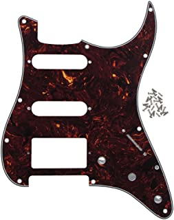 IKN 11 hole Strat HSS Pickguard Scratch Plate with Screws for American/Mexican Made Standard Strat Modern Style Guitar Replacement, 4Ply Brown Tortoise Shell