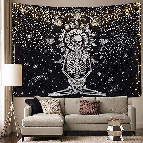Tapiz de montaña tapiz de sol y luna colgante de pared arte de pared en blanco y negro hippie psicodélico espacio tela de fondo de pared A5 73x95cm