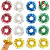 FRIMOONY 15pcs Spiky Sensory Rings, Finger Massager Roller, Silent...