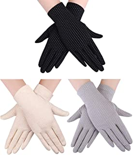3 Pairs Women Sun Protective Gloves UV Protection Summer Sunblock Gloves Touchscreen Gloves for Driving Riding Travel outside