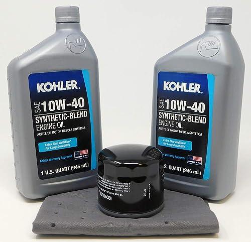 Kohler Oil Filter 12 050 01-S Change Kit w/Oil Pad and 2 Quarts 10W-40 Oil