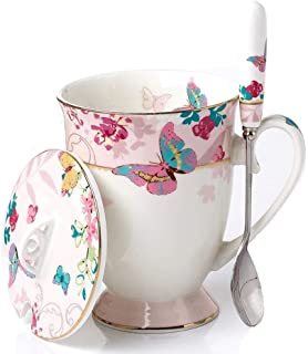 YBK Tech Euro Style Porcelain Tea Cup Coffee Mug with Lid for Breakfast Home Kitchen ((Butterflies Pattern) (Pink))