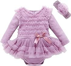 2Pcs/Set Newborn Infant Baby Girl Romper Tutu Dress Flowers Headband Long Sleeve Cotton Romper for Baby Clothing Set Lace