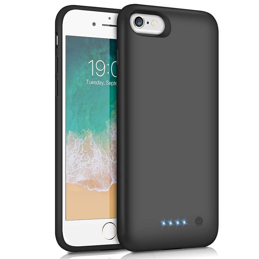 静かなメタン答えiPhone6/6s/7/8 対応 バッテリーケース 6000mAh 充電ケース 大容量 バッテリー内蔵ケース iphone8 対応 ケース バッテリー内蔵 急速充電 4.7インチ用 ブラック