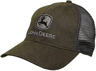 John Deere Oilskin Mesh Hat W/Silver Logo, Drab Green