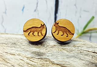 Foxy Earring Studs ~ Handmade Minimalist Earrings ~ Fox Totem Animal Wooden Earrings ~ Mothers Day, Graduation, 5th Anniversary Gift For Her