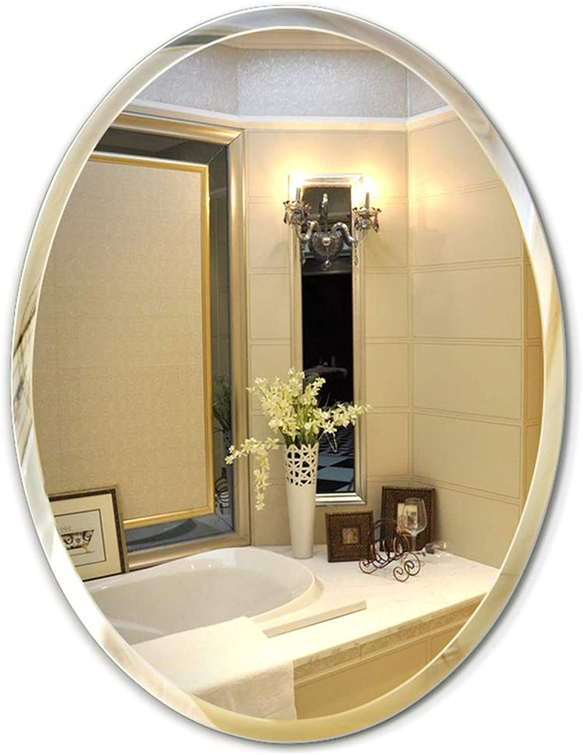YANZHEN Mirror Wall-Mounted Frameless Ultra-Clear Bathroom Hypotenuse Oval Simple and Stylish Silver Mirror, 2 Styles 3 Sizes (color   5MM Thickness Silver, Size   45x60cm)