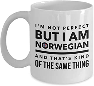 Norwegian Mug - I'm not perfect but I'm Norwegian and that's kind of the same thing - Norway flag - Funny gift for Norwegian - Coffee mug 11 OZ