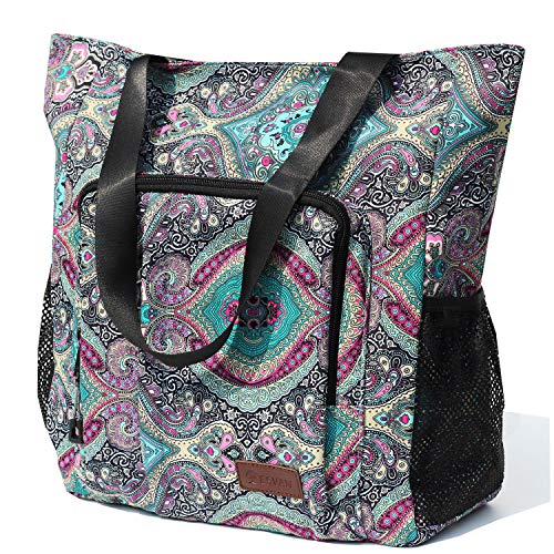 Large Travel Tote Water Resistant Shoulder Bag Lightweight Gym Tote for Men Women Unisex Day Bag (Bohemia Green)
