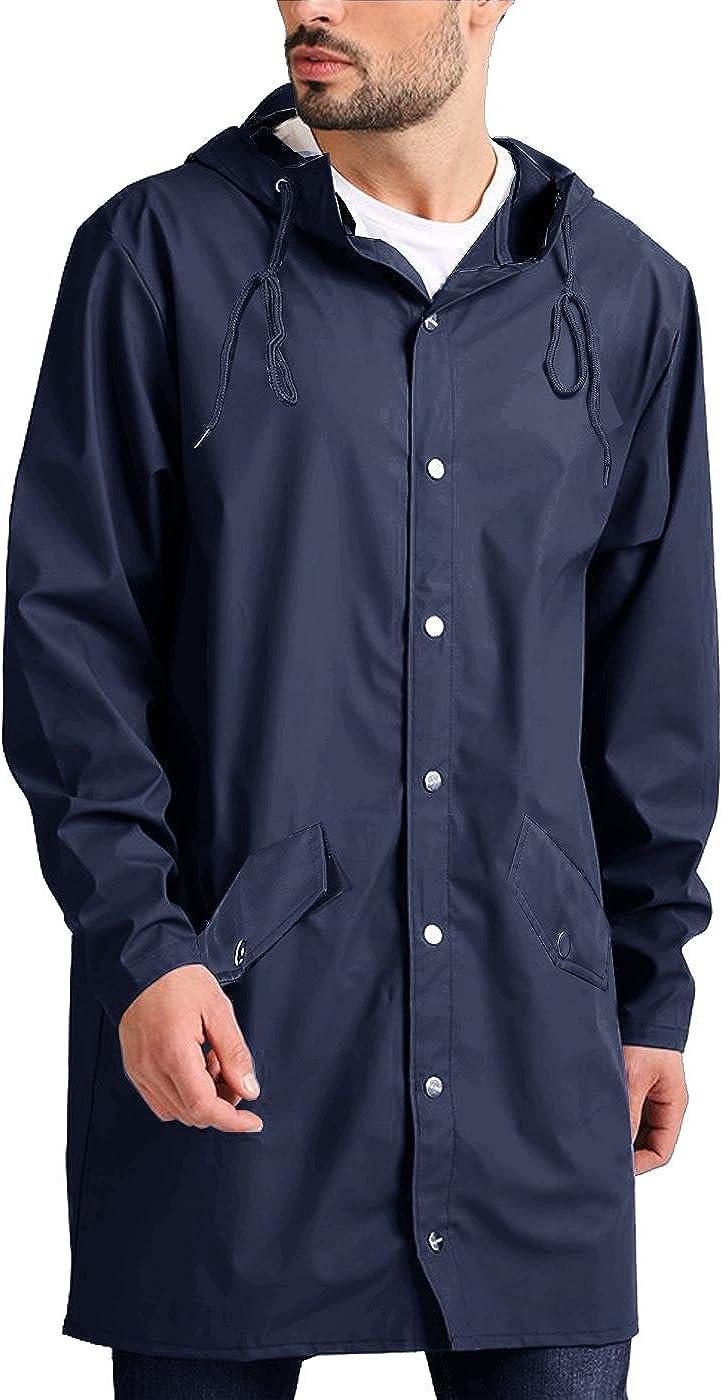 JINIDU Men's Lightweight Waterproof Rain Jacket Packable Outdoor Hooded Long Raincoat (Medium, 01-Navy Blue(with Button Pockets))