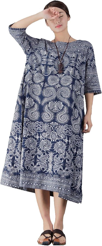 YUHEYUHE Women's Casual Loose Vintage Summer Soft Long Cotton Linen Dresses