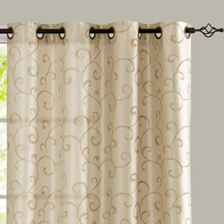 Amazon.com: Gold Linen Look Curtains Grommet Top for Bedroom Floral  Embroidery Design Window Treatment Set for Living Room One Pair 84 inch :  Home & Kitchen