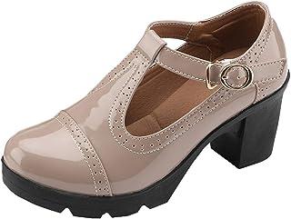 DADAWEN Womens Classic T-Strap Platform Mid-Heel Square Toe Oxfords Dress Shoes