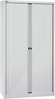 Bisley Armoire à rideaux Euro - 4 tablettes, 5 hauteurs de classeurs - largeur 1200 mm, gris clair | ET44/12/61/4S.1V7 - A...