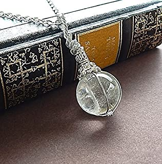 Fortune Teller Crystal Ball Clear Quartz Necklace Gift For Her or Him Pendant With Long Silver Chain