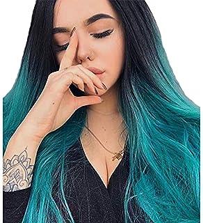 TANTAKO® Peluca Ombre Azul - Pelucas Ombre Azul Raíces Oscuras para mujer de Aspecto Natural Máquina Sintética Hecha Cosplay Pelucas llenas