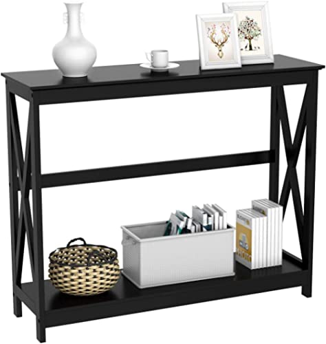 YAHEETECH 2 Tier X-Design Occasional Console Sofa Side Table Bookshelf Entryway Accent Tables w/Storage Shelf Living ...