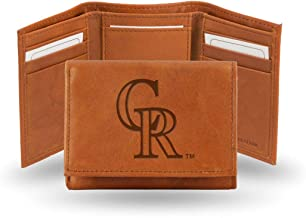 Colorado MLB Baseball Rockies Team Logo Embossed Brown Leather Trifold Wallet