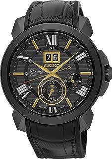 Seiko Premier Kinetic Perpetual Black Dial Men's Watch SNP145