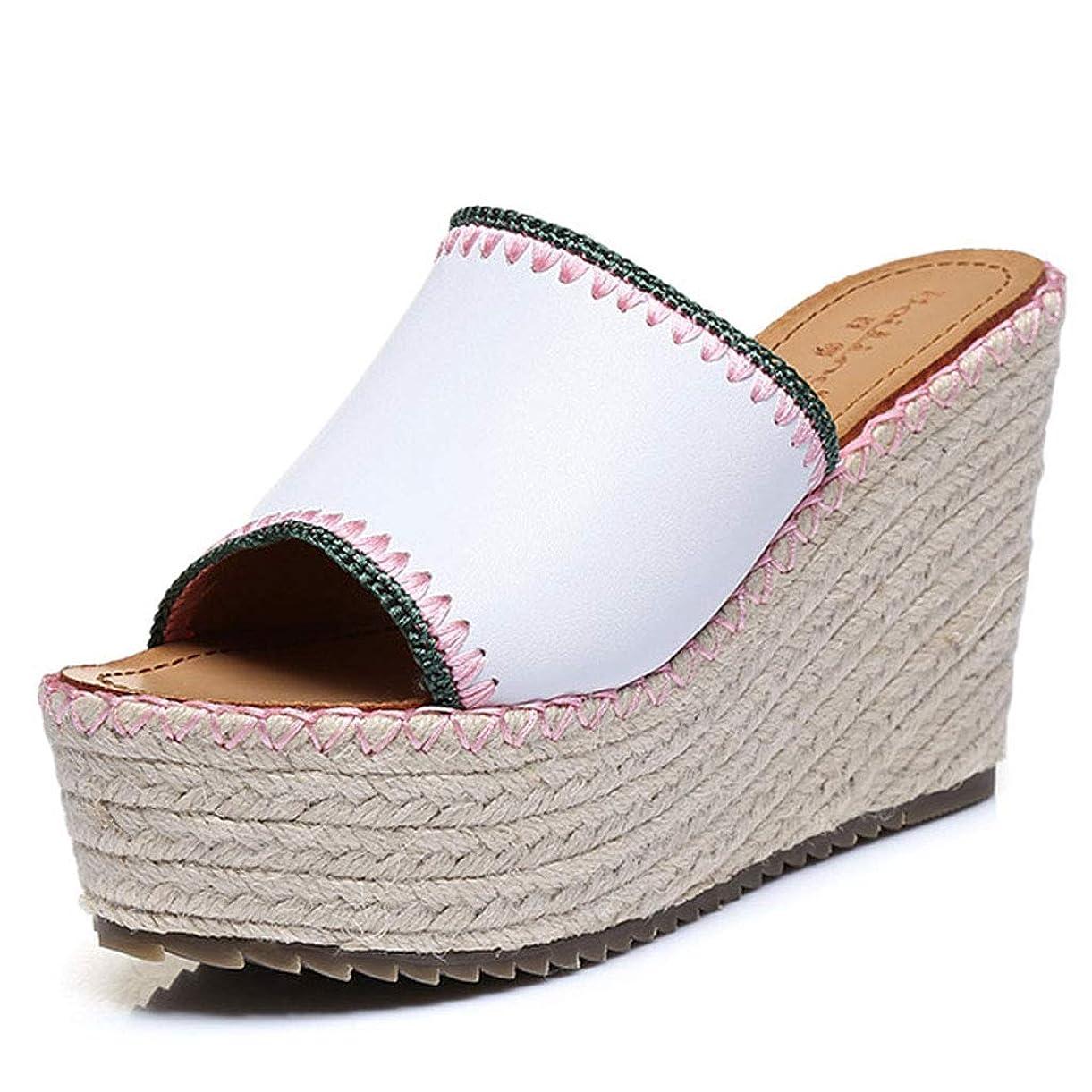 泣き叫ぶ鳩穏やかなセクシーな屋外ホワイトウェッジスリッパ厚手の麻のロープ編まれたハイヒールの靴ファッション夏の女性の靴 (色 : 白, サイズ さいず : 37)