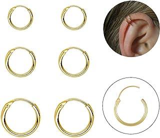 Silver Hoop Earrings- Cartilage Earring Endless Small Hoop Earrings Set for Women Men Girls,3 Pairs of Hypoallergenic Sterling Silver Tragus Earrings Nose Lip Ring(8/10/12mm)