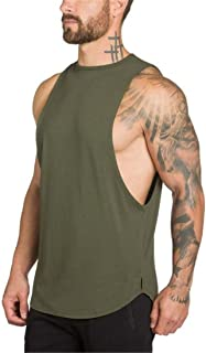 YeeHoo Men's Fitted Muscle Stringer Vest Cut Open Sides Workout Tank Tops Gym Bodybuilding T-Shirts
