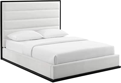 Modway Ashland Upholstered Faux Leather Queen Platform Bed Frame With Headboard In White