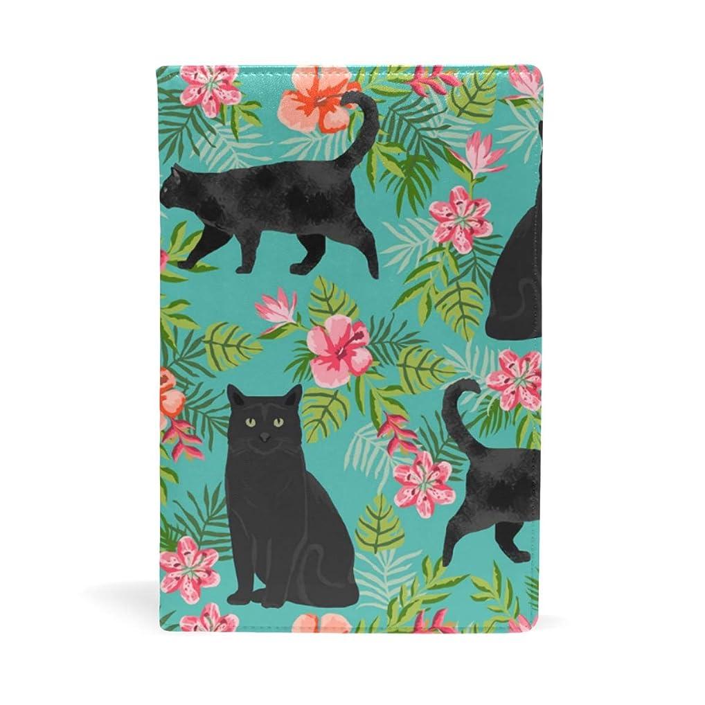 無臭排気タブレット黒の猫 花柄 ブックカバー 文庫 a5 皮革 おしゃれ 文庫本カバー 資料 収納入れ オフィス用品 読書 雑貨 プレゼント耐久性に優れ