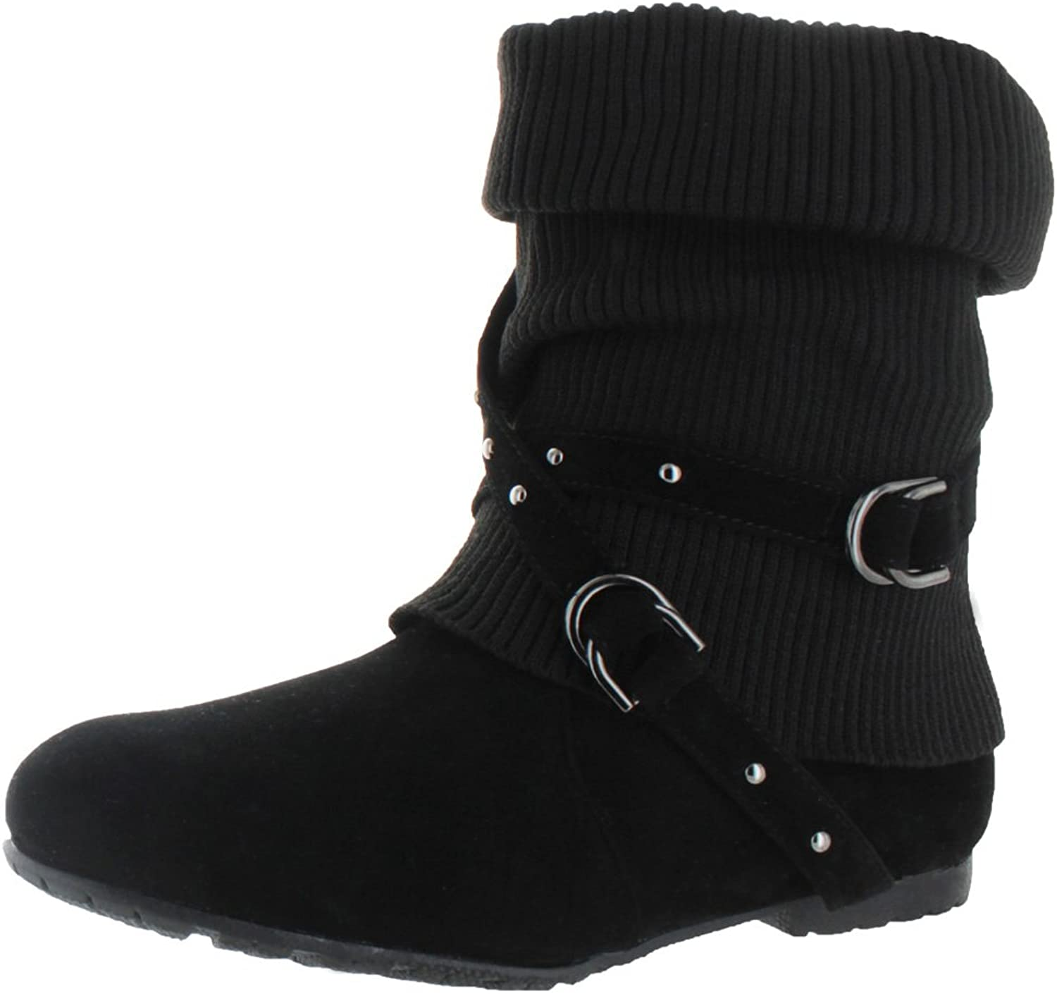 K Stores USA Womens Ankle Boots Slouch Knitted Suede Cross Strap Buckles