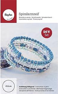 Rayher Bastelpackung Schmuckarmreif DIY mit Anleitung, Diverse Schmuckteile, blau, 16 x 10 x 0.1 cm