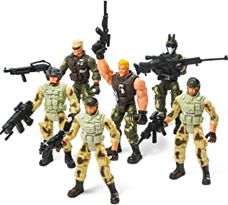 PROLOSO Military Soldier Playset Army Men Toys Special Force Action Figures Elite Heroes 6 Pcs
