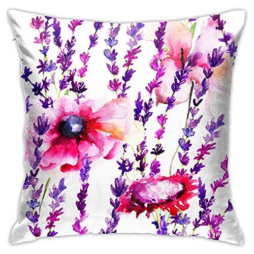 45x45cm Fundas Cojín Almohada Microfibra Flor Purpura Decorativa con Cremallera Invisible Funda Cojín