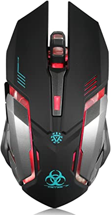 Wireless Gaming Mouse, VEGCOO C8 Silent Click Wireless Rechargeable Mouse with Colorful LED Lights and