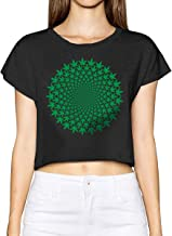 Cannabis Sexy Print Short Sleeve T-Shirt Women Naked Belly Crop Ladies Trendy T-Shirts Tops