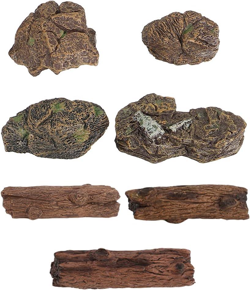 YARNOW 7 Piezas Acuario Cueva Piedra Jardín de Hadas Roca Decoración para Musgo Jardín Tronco Juguetes Paisaje Mesa Ornamentos