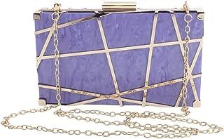 LETODE Women Evening Bag acrylic Clutch Metal Hollow out Design Purse party wedding crossbody bag