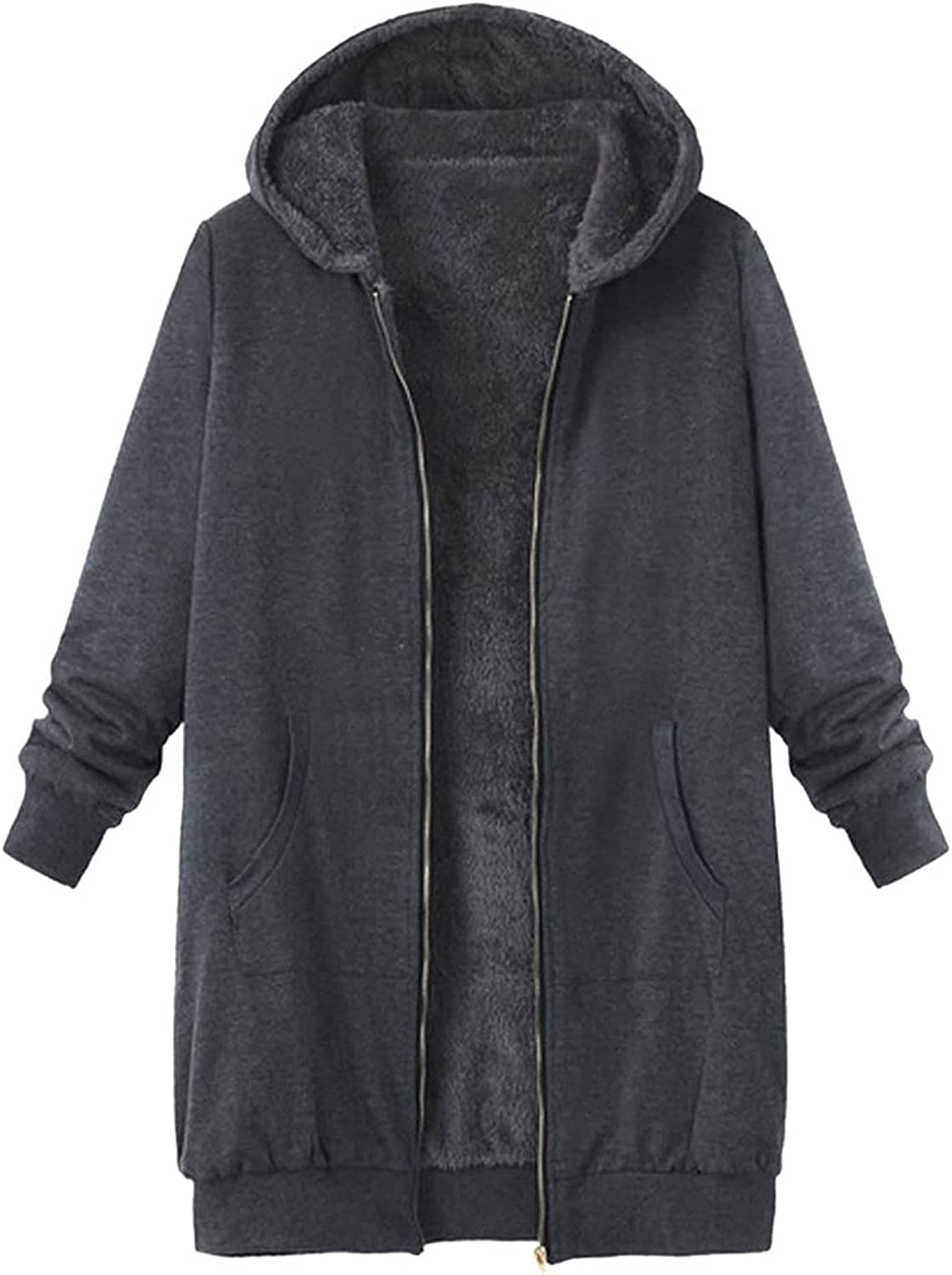 outlet Womens Fleece Coat Max 81% OFF Plus Size Zipper Hooded Jacket Cardigan Thick
