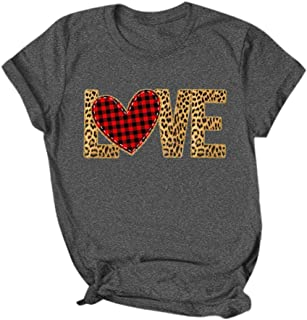 Pan Hui Women Plaid Heart Print Graphic T-Shirts Womens Valentine's Day Short Sleeve Tees Tops for Gift Wife T-Shirt Top