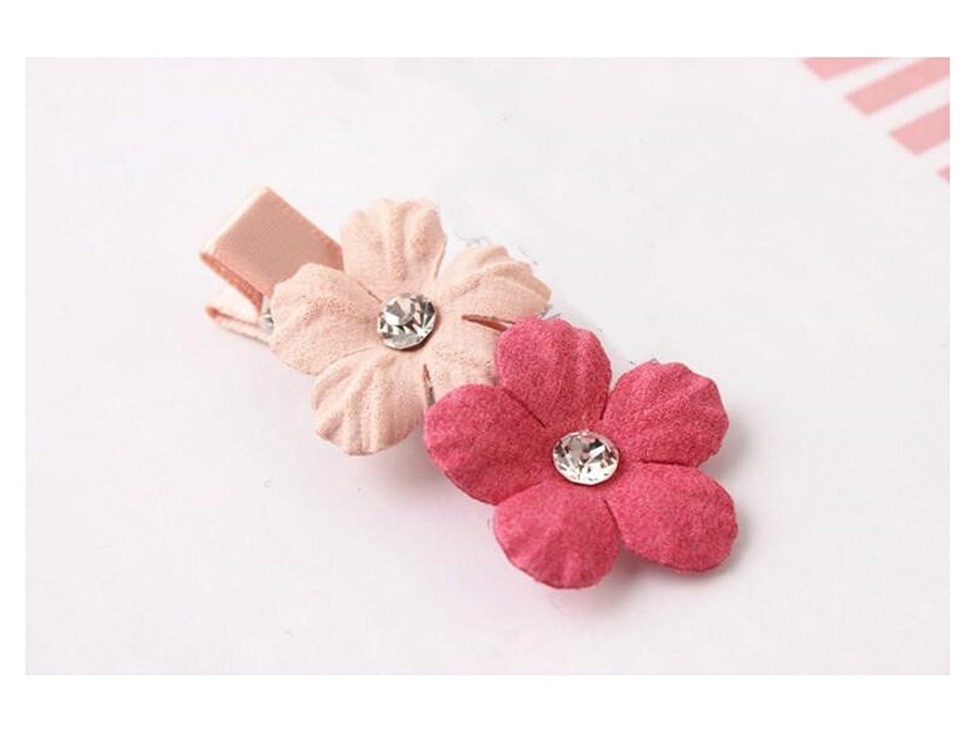 コーン湿地誕生Osize 美しいスタイル 子供用ヘッドドレス小さなフラワーヘアクリップドリルサイドクリップヘアピン(ピンク+ロージー)