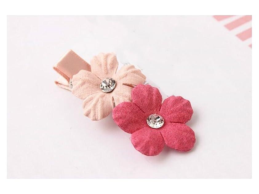 まもなくチームゴシップOsize 美しいスタイル 子供用ヘッドドレス小さなフラワーヘアクリップドリルサイドクリップヘアピン(ピンク+ロージー)