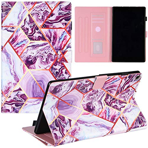 ZOOMALL Folio Case for Amazon Fire HD 10 (9th/7th Generation, 2019/2017), Premium Vegan Leather Stand with Pencil Holder Auto Wake/Sleepp, Grid Marble Purple