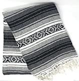 Mexitems Mexican Falsa Blanket Authentic 52' X 72' Pick Your Own Color (Black/Grey)