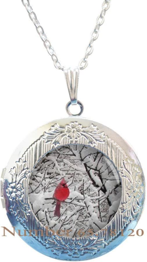 Yijianxhzao Cardinal Jewelry Cardinal Locket Necklace Cardinal Red Bird Locket Necklace,Cardinal Jewelry Cardinal Pendant,BV184