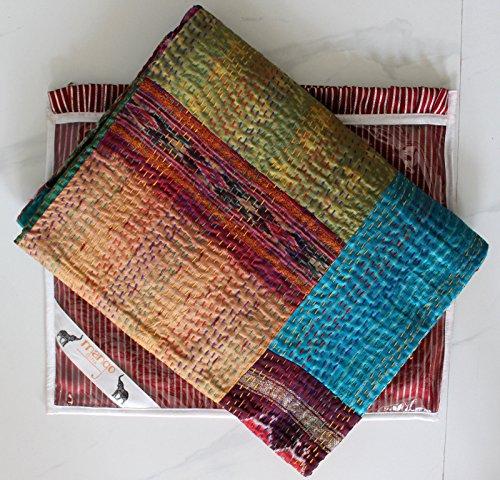 Vintage Seide Kantha Quilt, Patchwork Tagesdecke Handgefertigt Ralli Twin Größe Decke mit Geschenke Mango,