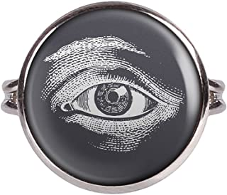 Mylery Ring with Cabochon Picture Eye Illuminati White Black Silver Different Sizes